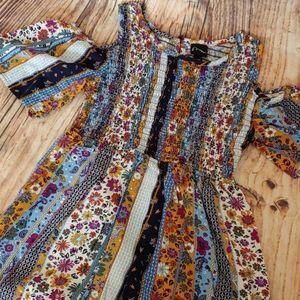 Girls' 10/12 large cold shoulder boho dress